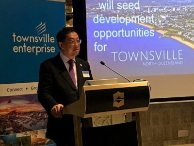 Group CEO Wong Heang Fine delivering the keynote address at the dinner organised by Townsville Enterprise 768x1024 1