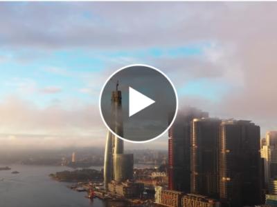 Screencapture of skycraper video with overlay