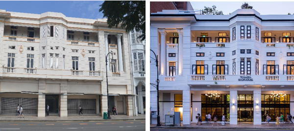Before and After front facade of Temasek Shophouse