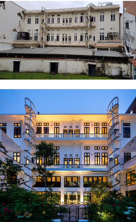 Before and After view of back of Temasek Shophouse across Stamford Canal