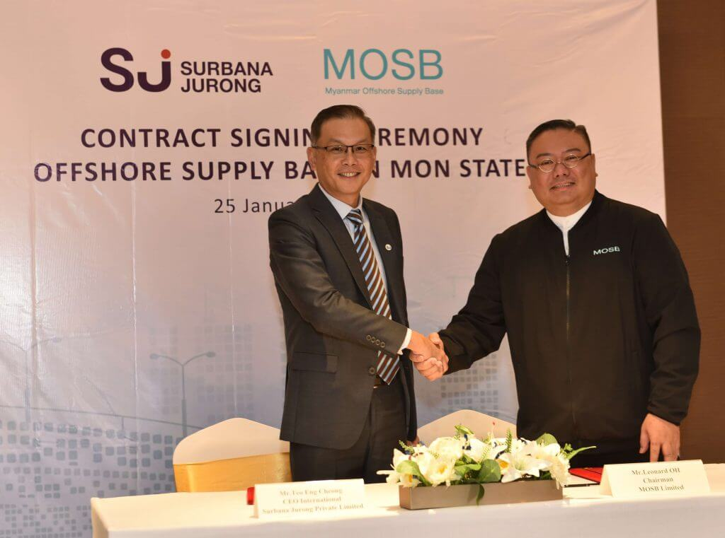 Surbana Jurong and MOSB will develop an offshore supply base in Mon State, which will support the fast-growing oil and gas industry in Myanmar, and help oil and gas operators reduce travel distances and increase efficiency