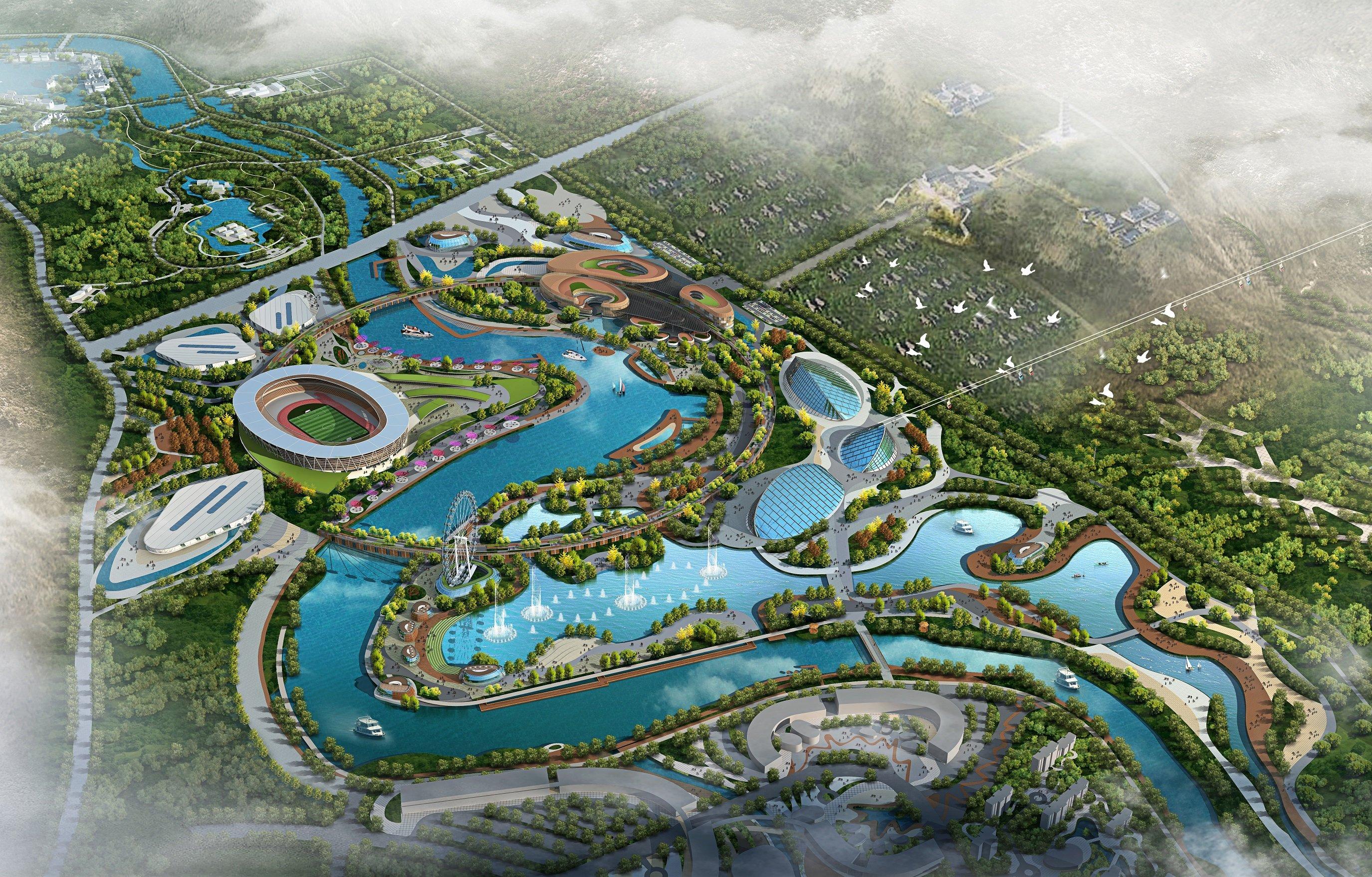 12km Han Cheng Riverfront, 700HA Theme Park Master planning Concept Landscape Residential