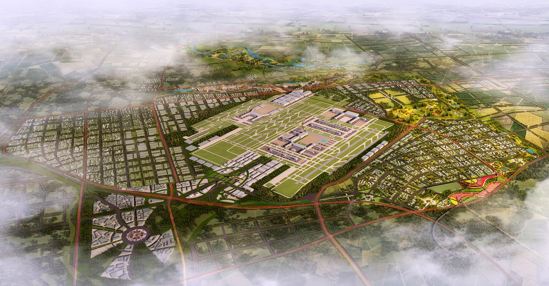 Eco-Landscape Planning of Xixian Airport City Master planning Concept Landscape Residential