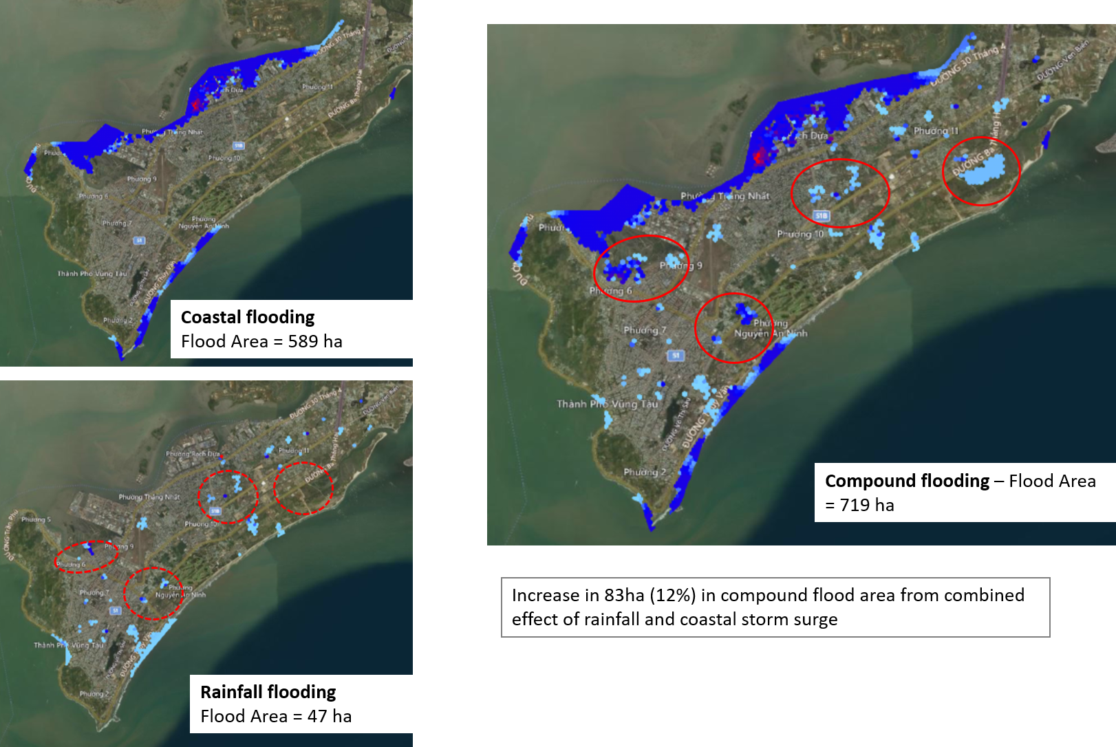 Figure 2: Compound Flooding Assessment - Example for a city in Vietnam (SJ-NTU Corp Lab proprietary platform)
