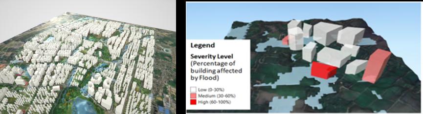 Figure 3: 3D visualisation and identification of flood affected buildings (SJ-NTU Corp Lab proprietary platform)